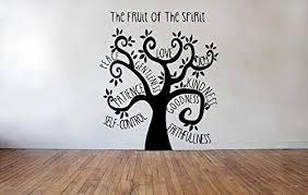 Amazon Com Littledollz Fruit Of The Spirit Tree Wall Decal Galatians Quote Home Decor Gift Idea Living Room Bedroom Office Vinyl Graphic 22 Inch Tall Kitchen Dining