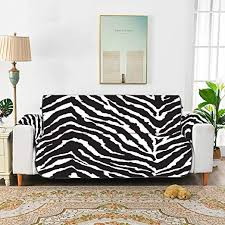 Amazon Com Wiedlkl Black White Zebra Print Seamless Sofa Furniture Covers Chair Slipcovers With Arms Velvet Dining Chair Slipcover For 45 Sofa Protect From Kids Dogs And Pets Home Kitchen