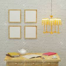 Working Kids Room Interior With A Yellow Lamp Frames And Brick Stock Photo Picture And Royalty Free Image Image 48979128