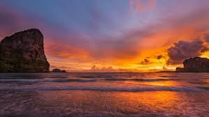 krabi thailand sunset at railay beach