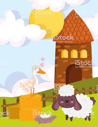 Farm Animals House Goose Goat Nest Grass Fence Cartoon Stock Illustration Download Image Now Istock