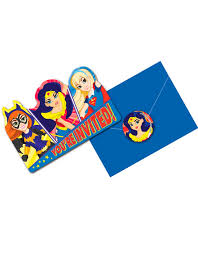 8 Invitaciones Dc Super Hero Girl