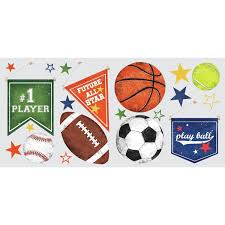 20 Play Sports Ball Wall Decals Soccer Tennis Baseball Kids Room Stickers Decor Walmart Com Walmart Com