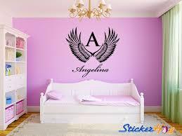 Angel Wings Monogram Name Girls Nursery Room Vinyl Wall Decal Decor