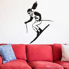 A Girl Skiing Wall Stickers For Kids Rooms Winter Sport Skier Racing Wall Decals Vinyl Removable Adhesive Stickers Wall Stickers Cheap Wall Stickers Children From Moderndecal 6 05 Dhgate Com