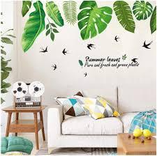Amazon Com Wangjru Tropical Jungle Green Leaves Wall Sticker Decoration Living Room Restaurant Seaside Plant Swallow Art Wall Mural Decal Baby