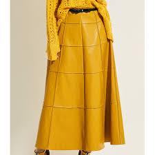 yellow high waist a line faux leather