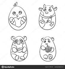 Kleurplaat Set Van 4 Schattige Dieren In Een Vorm Van Easter Egg