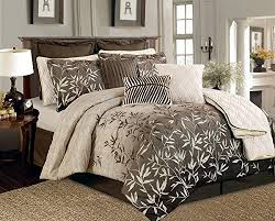 beige bamboo leaves tropical comforter set