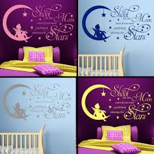 Shoot For The Moon Childrens Boy Girl Nursery Bedroom Playroom Wall Sticker Quote Vinyl Decal
