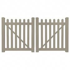 Weatherables Chelsea 8 Ft W X 4 Ft H Khaki Vinyl Picket Fence Double Gate Kit Dkpi 3 4x48 The Home Depot