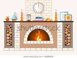 large brick fireplace stock vector