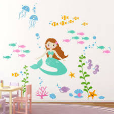 Mermaid Wall Decal Underwater Ocean Fishes Wall Decal Girls Room Decor Ebay