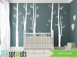 Set Of 5 White Birch Tree Decal With Birds Large Birch Set Birch Tree Set Birch Forest Nursery Decals Baby Decals