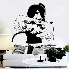 Amazon Com Game Controler Xbox Manga Anime Sticker Girl Gamer Decal Gaming Posters Gamer Vinyl Wall Decals Parede Decor Mural Video White Home Kitchen