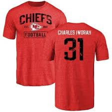 Prince Charles Iworah Kansas City Chiefs Youth Red Distressed Name & Number  Tri-Blend T-Shirt