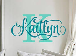 Amazon Com Personalized Name Wall Decal Girl Monogram Initial Swirly Name Decal Wall Decor Vinyl Lettering Gold Coral 42 Available Matte Colors Stenver Decals Bkm1 Home Kitchen