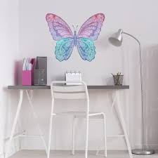 Large Watercolor Butterfly Wall Decal Reusable Fabric Butterfly Wall