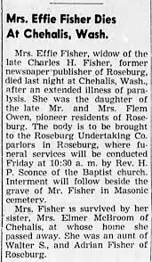 Obituary for Effie Fisher - Newspapers.com