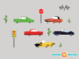 Cars Fabric Wall Decal Set Of Five Vintage Cars With Cactus Stoplight Stop Sign Flags