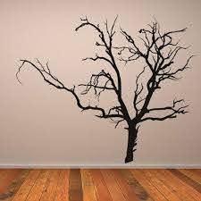 Creepy Bare Tree Halloween Wall Sticker Bare Tree Vinyl Wall Art Tree Wall Art