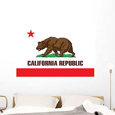 Amazon Com Wallmonkeys State Flag California Wall Decal 48 In W X 32 In H Wm218906 Home Kitchen