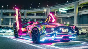 neon lights lamborghini hd cars 4k