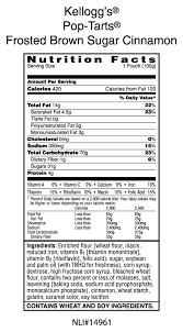 pop tart nutrition facts label