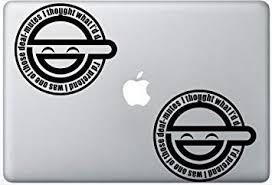 Amazon Com Ghost In The Shell Decal Laughing Man Logo Flashdecals3330 Set Of Two 2x Decal Sticker Laptop Ipad Car Truck Computers Accessories