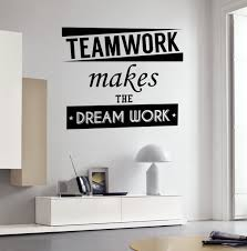 Amazon Com Teamwork Quotes Wall Vinyl Decal Inspiration Quote Teamwork Makes The Dream Work Motivation Words Sticker For Home Office Vinyl Decal Decor Home Kitchen