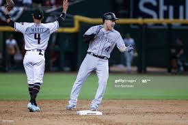 Colorado Rockies shortstop Pat Valaika celebrates after hitting a ...
