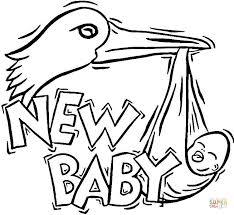 Ooievaar Brengt Een Nieuwe Baby Kleurplaat Gratis Kleurplaten