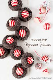 chocolate peppermint blossoms garnish