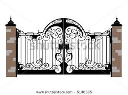 Ornate Smart Forged Iron Gate Accurate Drawing Sketch Of Editable Modules Stock Vector Iron Gate Design Iron Gate Steel Gate Design