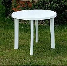 round white plastic garden patio table