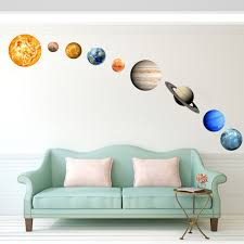 9pcs Wall Stickers Solar System Wall Mural Glowing Planets Wall Decals For Kids Bedroom Living Room Walmart Com Walmart Com