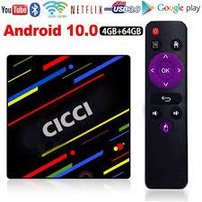 Amazon.com: CICCI Android 10.0 TV Box 4GB RAM 64GB ROM Quad-Core 4K H.265  1000M RJ45 Dual-WiFi 5G/2.4G, BT 4.1 USB 3.0 Smart TV Box Android TV Player  Google Mini PC Set Top