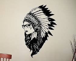 Native American Girl Wall Sticker Indian Chief Vinyl Decal Hipster Art Decor 14a Ebay