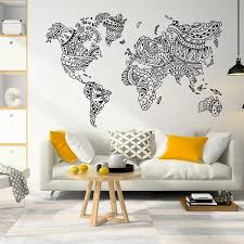 New World Map Mandala Wall Decal Boho Decor World Map Wall Sticker Bohemian Wall Decor Decorative World Map Wall Arta12 012 Wall Stickers Aliexpress
