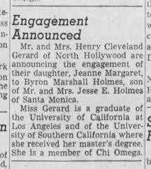 Jeanne Gerard / Byron Holmes engagement announcement - Newspapers.com