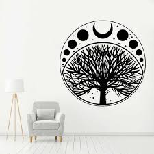 Nature Vinyl Wall Decal Moon Phases Cycle Tree Of Life Symbol Wall Sticker Home Decoration Accessories For Living Room Z051 Wall Stickers Aliexpress