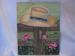 Original Painting Canvas Board Rose Bush Flower Flowers Fence Country Hat Signed Ebay