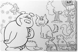 Canvas Wilde Dieren In Het Bos Voor Kleurboek Pixers We Leven
