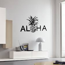 Aloha Vinyl Wall Decal Pineapple Hawaii Hawaiian Beach Style Interior Decor Stickers Mural Bedroom Art Decals Mural A25 Leather Bag