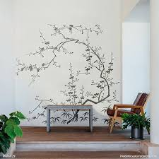 Cherry Blossom Wall Mural Stencils Painting Diy Chinoiserie Wall Art Modello Designs