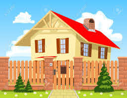 Family House Behind The Wooden Fence With The Gate Royalty Free Cliparts Vectors And Stock Illustration Image 18655613