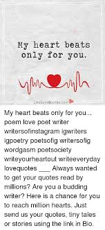 my heart beats only for you like quotescom love my heart beats