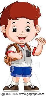 vector art cute boy on his way to