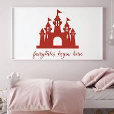 Fairytales Begin Here Princess Castle Wall Decal Girls Room Vinyl Decor Customvinyldecor Com