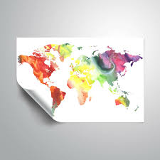 Harriet Bee Lecuyer Watercolor Map Of The World Removable Wall Decal Wayfair